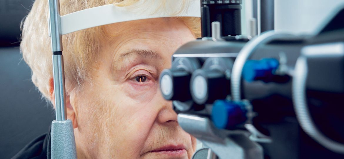 Older woman ophthalmologist check up