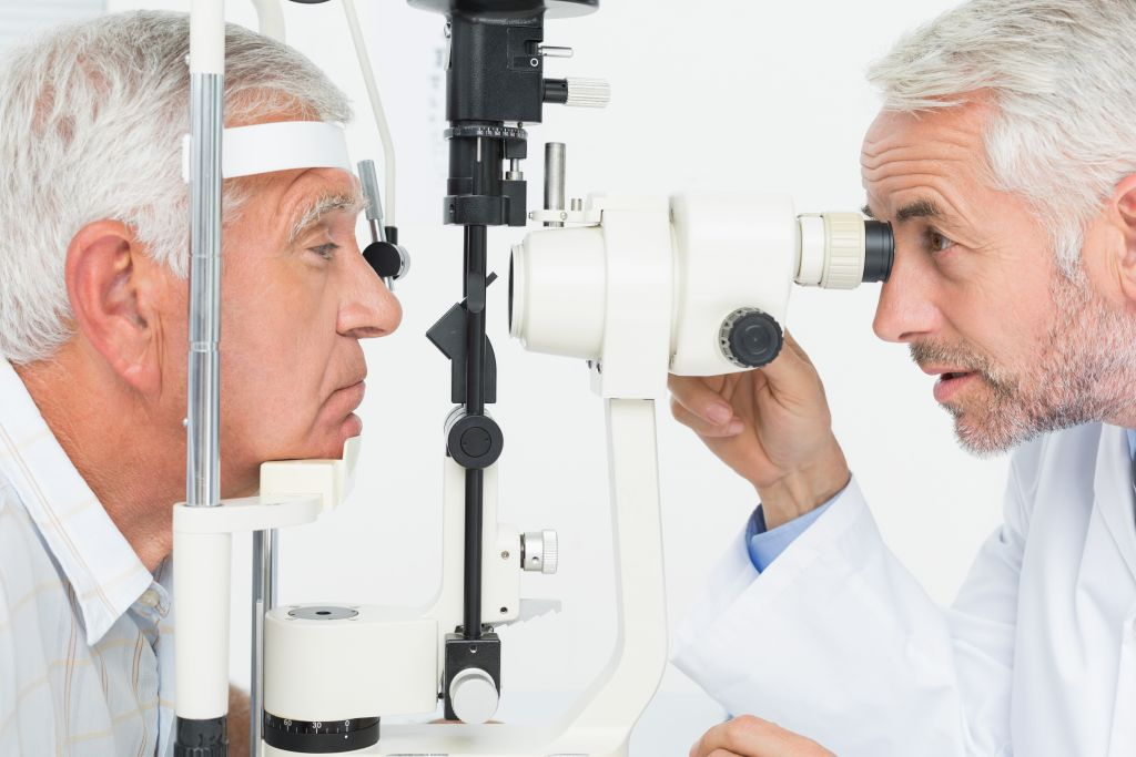 Close-up of an optometrist doing sight testing for cataracts